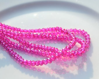 Fuschia Luster 4x3mm Crystal Rondelle Beads  25