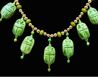 Green Egyptian Scarabs & Peridot Necklace