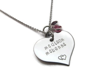 Personalized Necklace - Hand Stamped Personalized Jewelry - Hand Stamped Heart Necklace - Mothers Necklace - Grandmothers Necklace