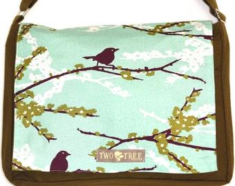 Olive and MINT Green Bird  MeSSENGER Book Laptop Diaper BAG