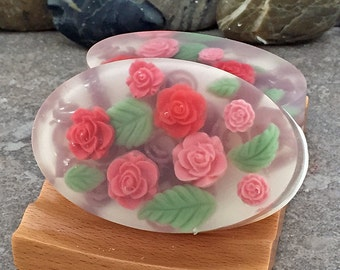 Rose Garden Handmade Glycerin Oval Bar Soap
