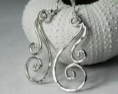 Silver Swirl Earrings - Spiral Earrings - Sterling Waves Jewelry - Artisan Earrings - Unique Spiral Jewelry Swirl