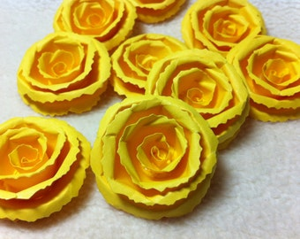 Scrapbook Flowers...9 Piece Set of Very Bright and Cheery Sunny Yellow Rolled Roses Scrapbook Paper Flower Rolled Roses