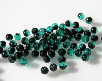 Vintage Czech Teal Green and Black Smooth Round 6mm Glass Beads (12)