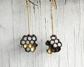 Gold and Black Silver Honeycomb Earrings, Honey Earrings, Beekeeper jewels  C&S