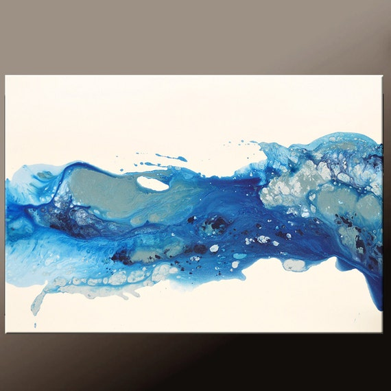 Abstract canvas art painting 36x24 blue original contemporary for Blue paintings on canvas