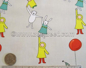 Just for Fun KIDS WITH BALLOON, Bear, Bunny Rabbit - Gray Green - Cotton Quilt Fabric - by the Yard, Half Yard, or Fat Quarter Fq