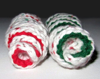 Set of 2 Crocheted Corkscrew Cat Toys: White, Green & Red, 100% Cotton.  For the Meowest Holiday EVER!