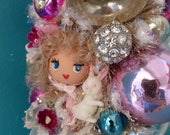 On Hold for Kasey! On Sale!  Darling Vintage Items Easter Bonnet Girl in Pink Bottle Brush Tree Decoration