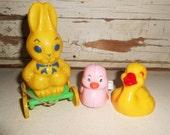 Vintage Easter Rosbro Bunny, Vintage Easter Basket Toy, Vintage Plastic Duck