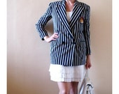 Navy Blue and White Striped Ellen Tracy Silk Blazer with Embroidered Crest Patch on Pocket