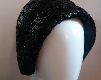 Italian Black Sequins Flapper Cloche
