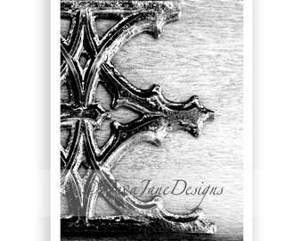 Letter E - Alphabet Photography Individual 4x6 Black and White Photo for Name Frames (E25)