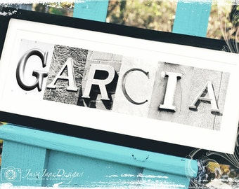 Engagement Sign | First Anniversary Gift | Housewarming | Personalized Name Gift | Alphabet Photos | Artwork for Long or Short Name