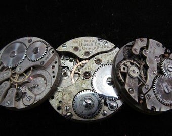 Vintage Antique Watch Movements Steampunk Altered Art Assemblage Industrial  LS 107