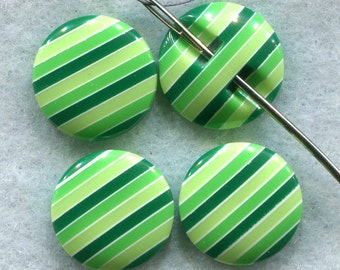 Green Striped Buttons Thick Sturdy Acrylic Buttons 15 mm (5/8 inch) Set of 8 /BT148G