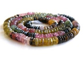 Tourmaline Gemstone Tyre Tire Faceted Heishi Multi 5mm 200 beads Full strand Wholesale