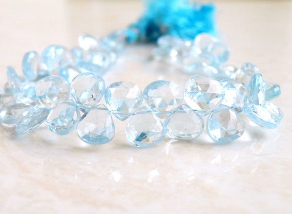 Sky Blue Topaz Gemstone Briolette Heart Faceted 7.5 to 8mm 9 beads