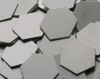Aluminum Hexagons - 20 ga, stamping blanks, Bopper, metal stamping blanks, stamping supplies, etching blanks, embossing blank, hexagon blank