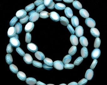 Vintage Blue & White Beads 12mm Slices Made in Western Germany