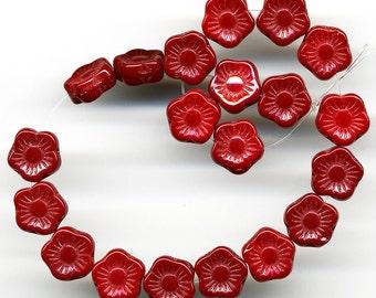 Vintage Red Flower Beads 10mm Glass Flat Shape 24 Pcs.