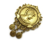 Coin Brooch - Coin Jewelry, Charm Dangle Brooch, Costume Jewelry