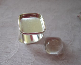 4 Adjustable Ring Blank Wide Band Large Square Sterling Silver Plated (No. ND112)  5/8 Inch (16mm)