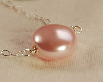 Pink Pearl Necklace, Pink Coin Pearl in Sterling Silver, Bridesmaid Necklace, Swarovski Pearl, Single Pearl Necklace, Coin Pearl Solitaire