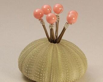 Pink Coral Pearl Bobby Pins, Pink Coral Pearl Hair Pins, Swarovski 8 mm Pearls on Bronze Bobby Pins, Set of Six, Bridesmaid Hair Pins