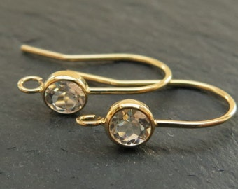 Gold Filled White Topaz Ear Wire ~ PAIR (CG7063)