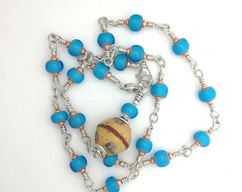 Necklace Choker African TradeTurquoise Glass Beads With Pendant