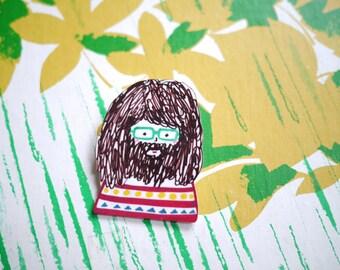 Beardy Chris - hand drawn brooch