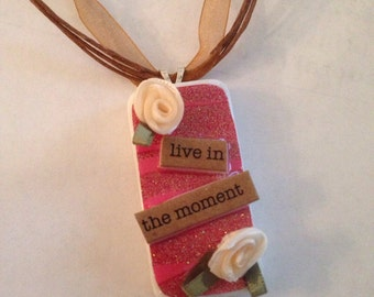 Live In The Moment Cream Roses Unique Handmade Altered Art Pendant Domino Pendant with Ribbon Adjustable Necklace