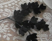 Vintage Millinery Leaves 1950s Petite Black Japan Velvet Maple Leaves  VL 109 BLK