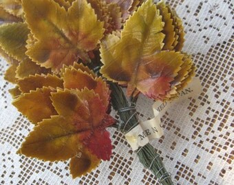 Vintage Millinery Lacquered Autumn Maple Leaves 12 Occupied Japan 1940s
