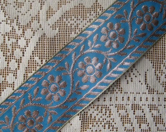 Wholesale Lot 9-3/4 Yards Metallic Trim Jacquard Ribbon 2 Inch Wide Blue And Silver  K