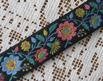 Folkloric Woven Jacquard Ribbon Floral Costume Trim 3/4 Inch Wide 2 Yards