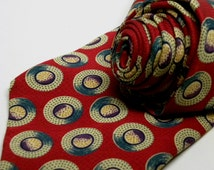 Vintage Van Heusen  Art Deco Circles Jacquard Silk Tie RED TEAL PURPLE