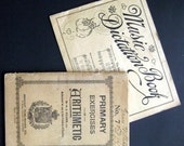 2 Vintage school work books 1920s math and music for your art projects