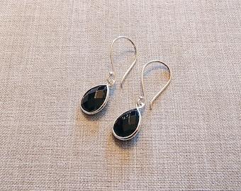 Sterling Silver Black Onyx Teardrop Earrings