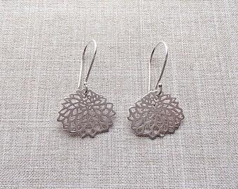 Matte Silver Flower Blossom Earrings
