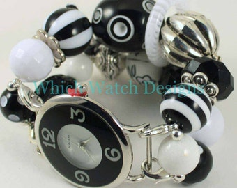 Graphic Punch.. Black & White Chunky Beaded Interchangeable Watch Band