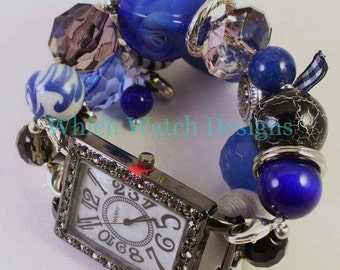 Shabby Chic Royale...Chunky Royal Blue, Gray and Black Interchangeable Beaded Watch Band, Charms and Ribbon