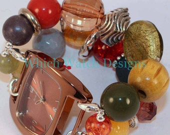 Autumn Morning.. Orange, Yellow, Brown, Blue and Olive Green Chunky Interchangeable Beaded Watch Band