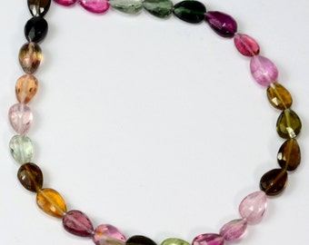 Multi Tourmaline Faceted Center Drilled Pear Briolette Beads 8 inch strand