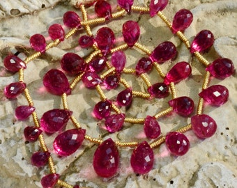 Old Mine Rubellite Tourmaline Faceted Teardrop Briolette Bead 13.5 inch strand *