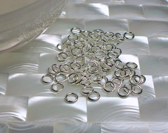 6mm CLOSED 18 gauge 20pcs High Polish Silver Plated Brass Nickel free Hypoallergenic Jump Rings