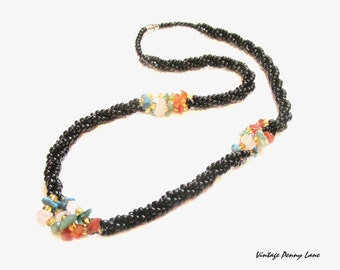 Beaded Rope Necklace, Black Glass / Gemstones