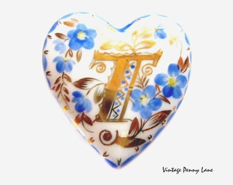 Handmade Porcelain Brooch, Vintage Monogram Pin