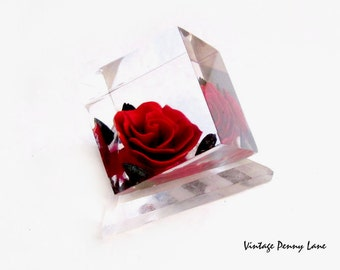 Desk Ornament / Figurine, Vintage Lucite Red Rose